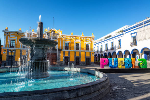 Fountain in Historic Puebla stock photo