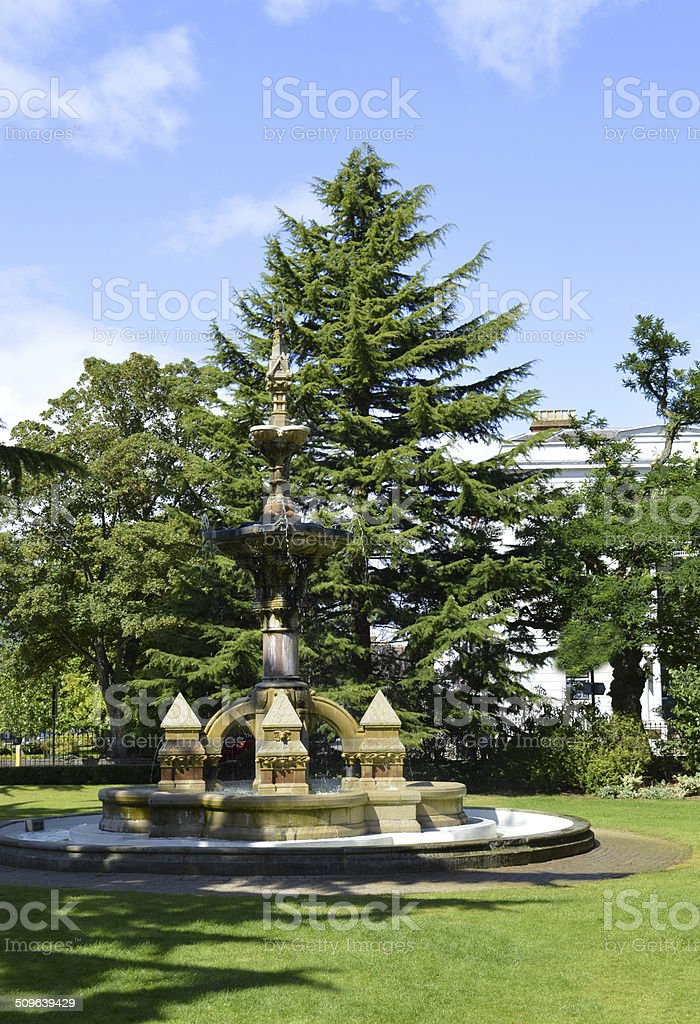 Fountain in Jephson Gardens stock photo