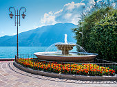 Fountain in beautiful village Limone sul Garda, Italy