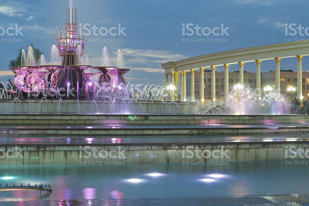 Fountain in National Park of Kazakhstan, Almaty stock photo