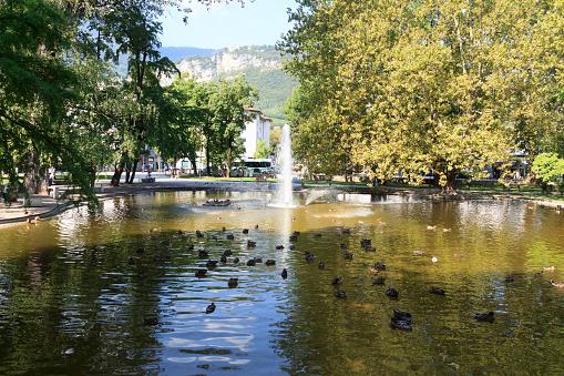 Fountain in park Giardini Pubblici in Trento, Italy
