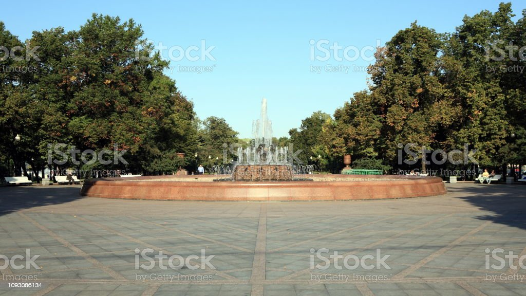 fountain in parl at autumn dry sunny day stock photo