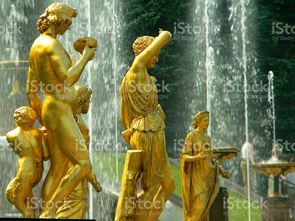 Fountain in Petrodvorets (Peterhof) stock photo