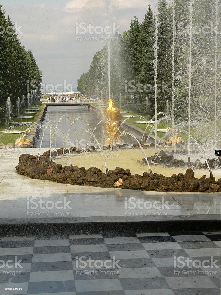Fountain in Petrodvorets stock photo