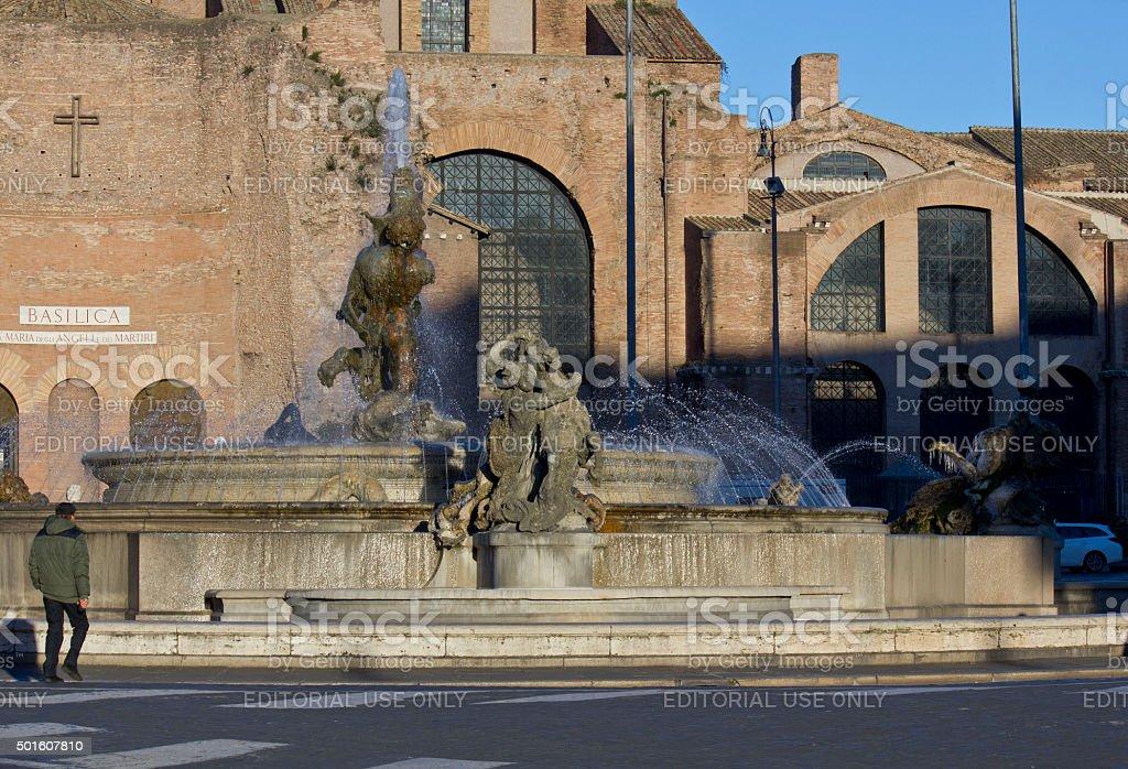 fountain in Piazza della Repubblica in Rome stock photo