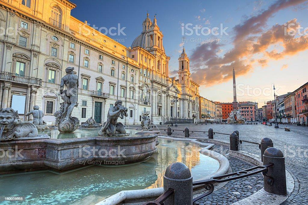 Fountain in Piazza Navona in Rome, Italy stock photo
