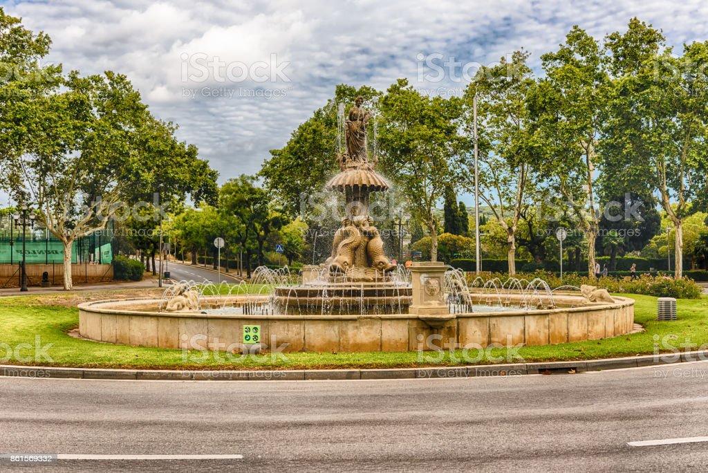Fountain in Plaza de Sant Jordi, Montjuic, Barcelona, Catalonia, Spain stock photo