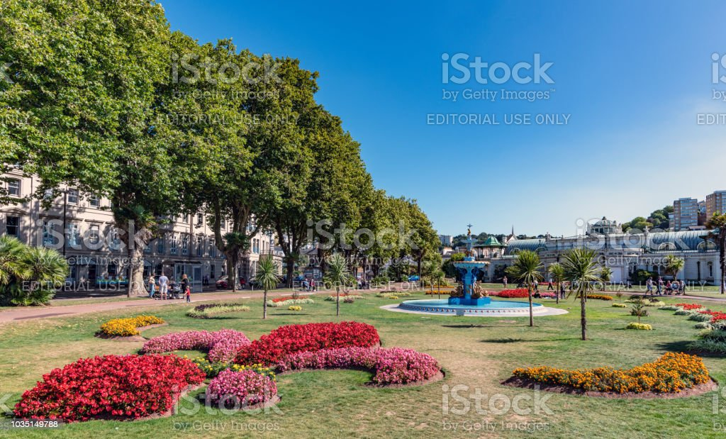 Fountain in Princess Gardens in Torquay, Devon stock photo