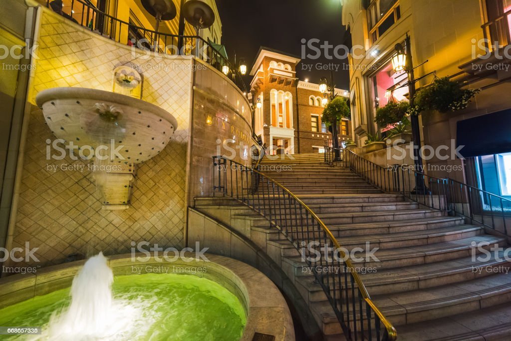 Fountain in Rodeo drive stock photo