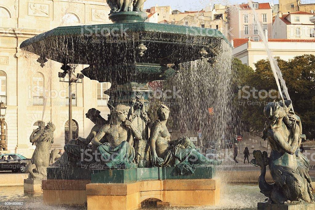 Fountain in Rossio Square in Lisbon stock photo