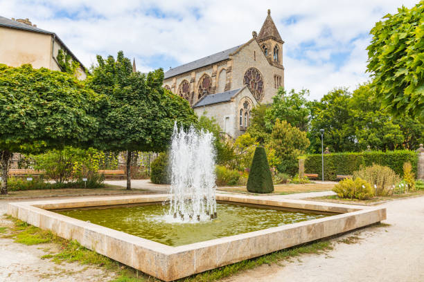 A fountain in the botanical garden in Limoges. stock photo