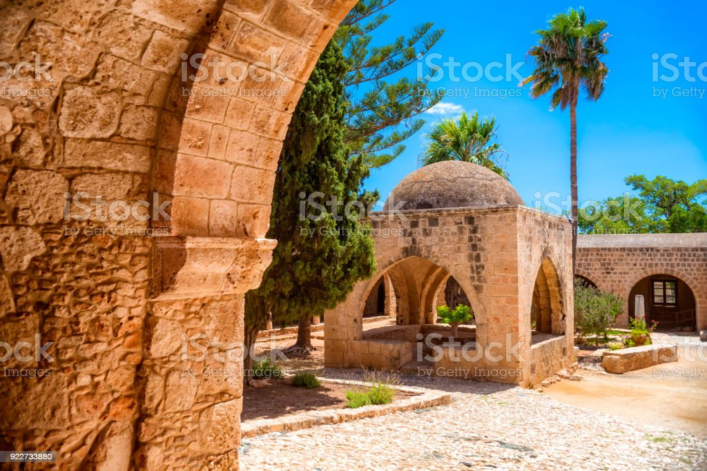 Fountain in the courtyard of the Monastery. Ayia Napa, Famagusta District, Cyprus stock photo
