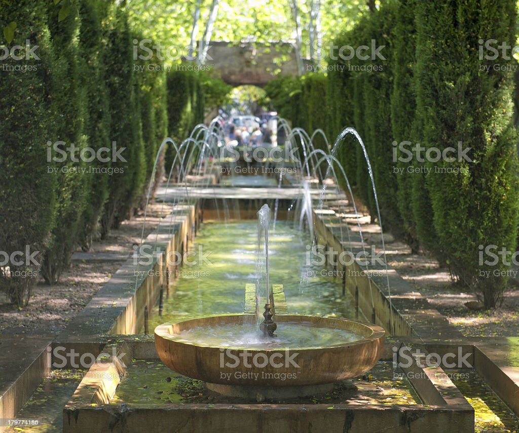 Fountain in the garden of Hort del Rei royalty-free stock photo