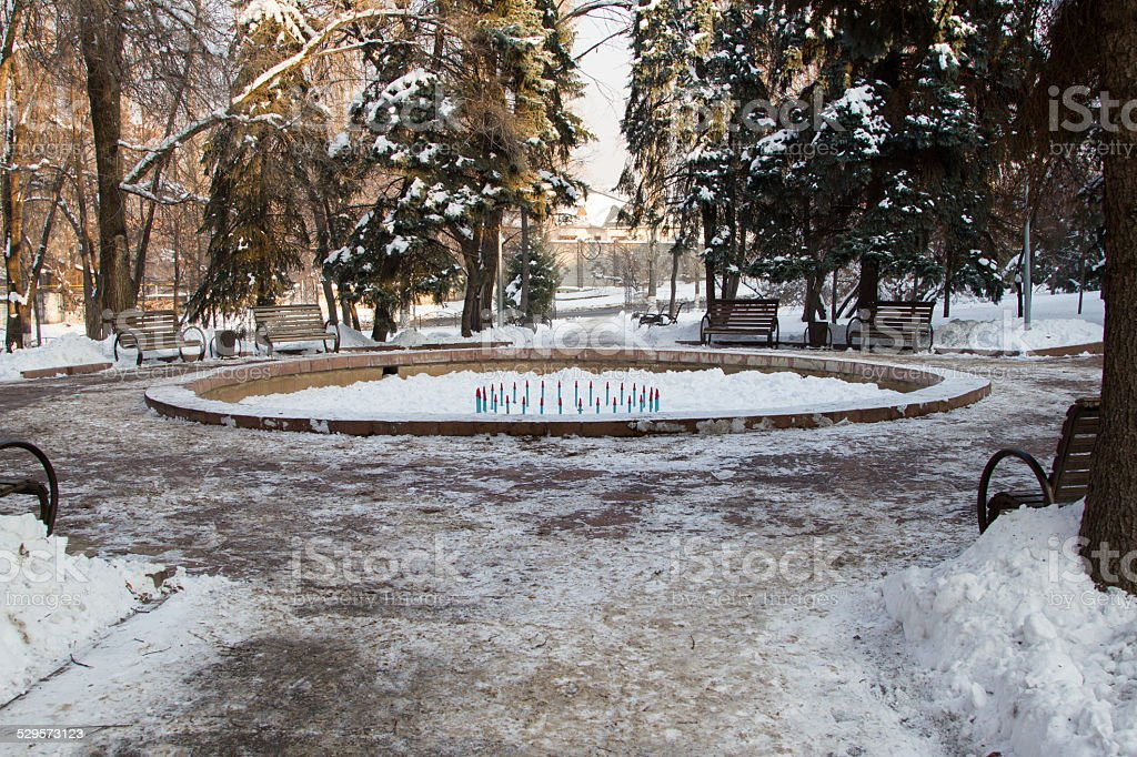 fountain in the park in the winter stock photo