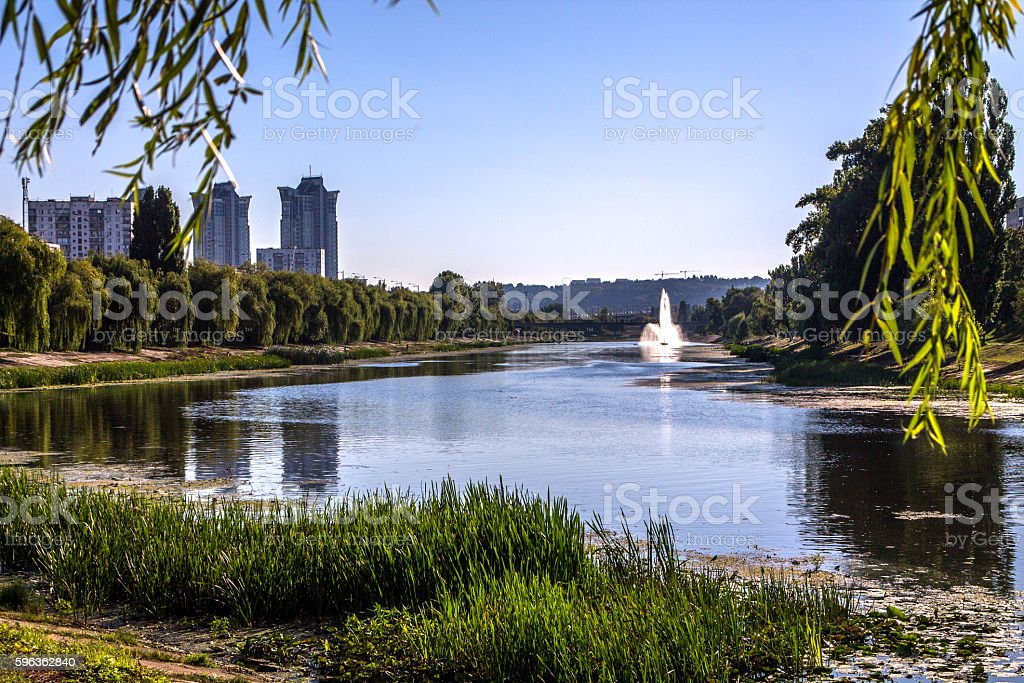 Fountain in the river. royalty-free stock photo