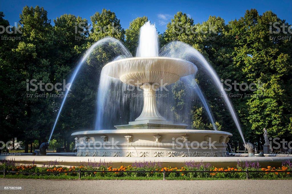 Fountain in the Saxon park, Warsaw, Poland stock photo
