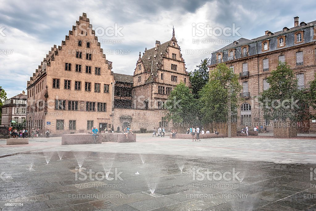 fountain in the square Place du Chateau in Strasbourg stock photo