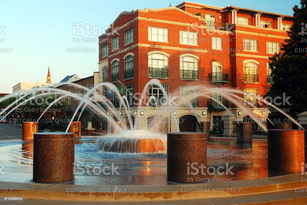 Fountain in the Waterfront Park stock photo