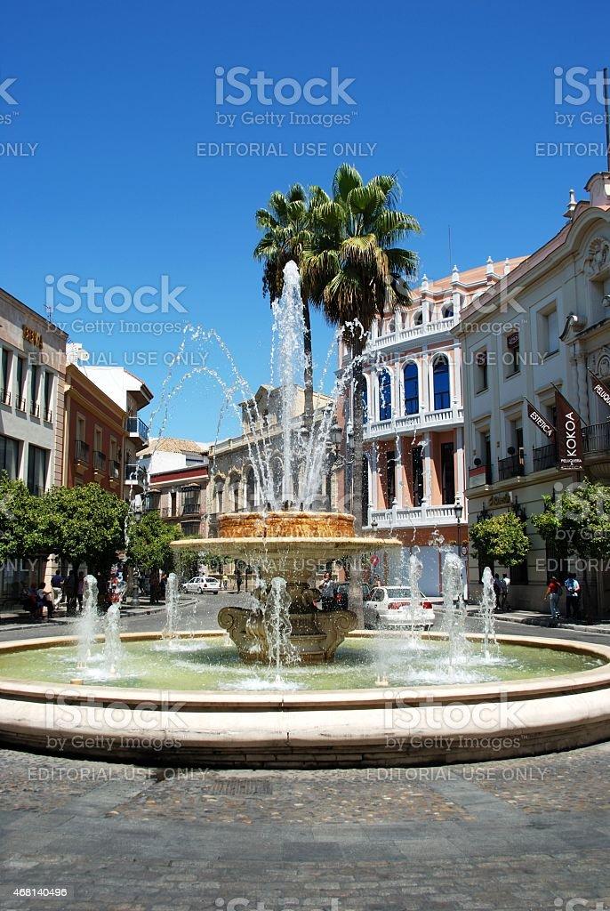 Fountain in town, Jerez de la Frontera. stock photo