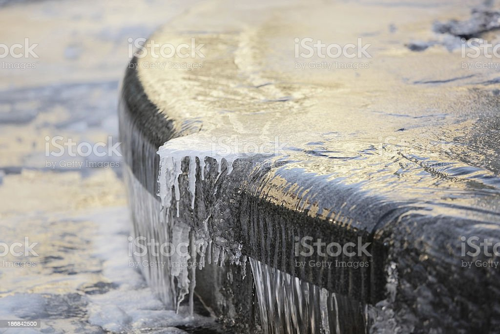 Fountain in Winter stock photo
