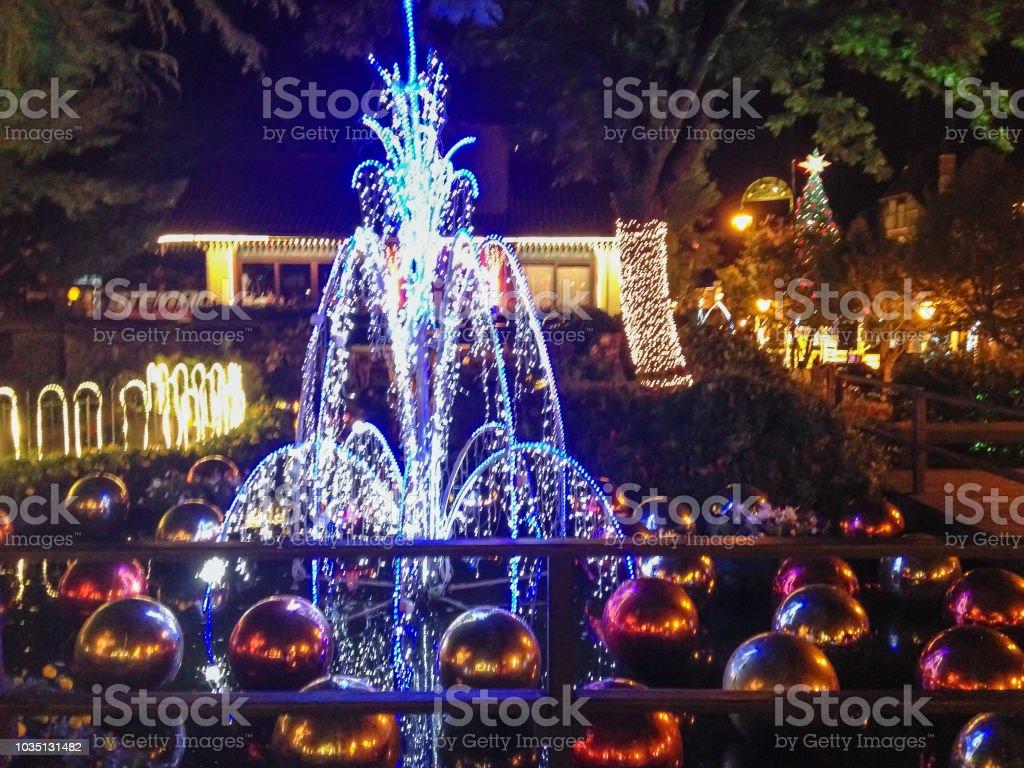 Brazil Christmas.Fountain Lit For Christmas On Grass Brazil Stock Photo