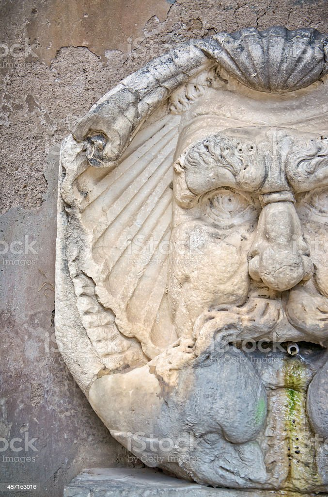 Fountain mask  Aventino  Rome  Italy stock photo