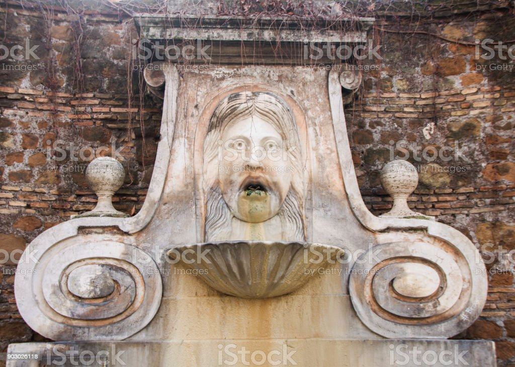 mascherone fountain stock photo