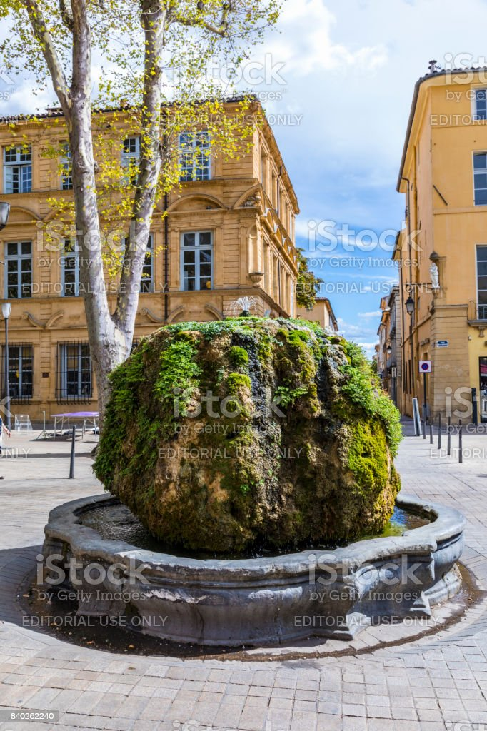 Brunnen Mousse Am Cours Mirabeau In Aixenprovence Stock Fotografie
