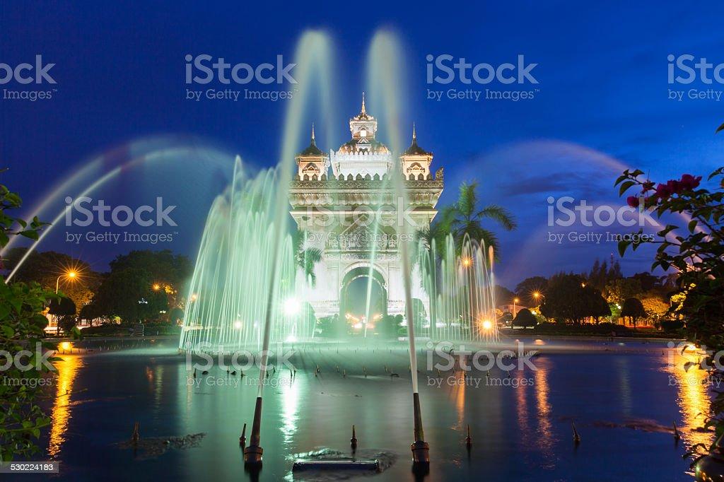 Fountain near Patuxai monument royalty-free stock photo