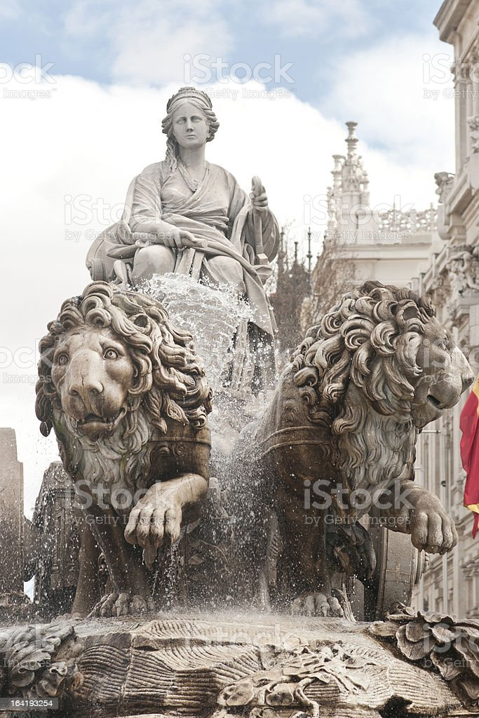 Fountain of Cibeles in Madrid stock photo