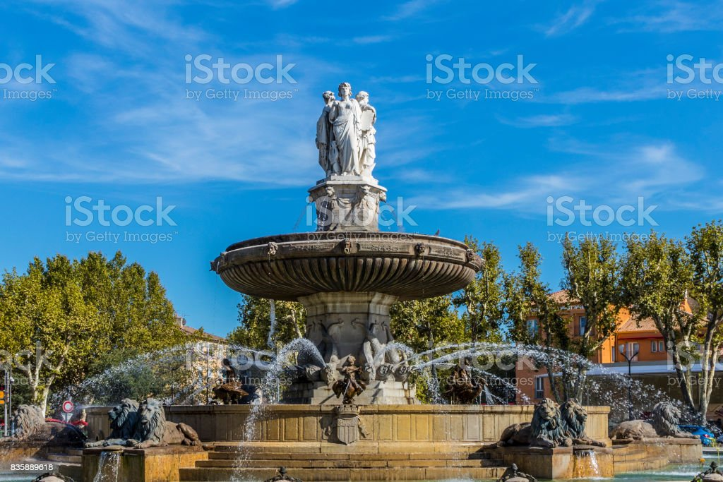 Fountain of de La Rotonde Aix en Provence stock photo