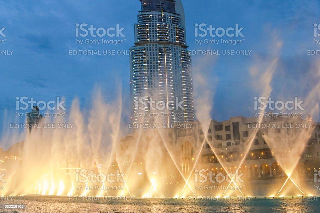 Fountain of Dubai by night stock photo