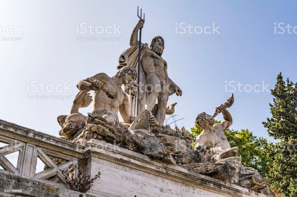 Fountain of Greek God Neptune, Piazza del Popolo, Rome, Italy stock photo