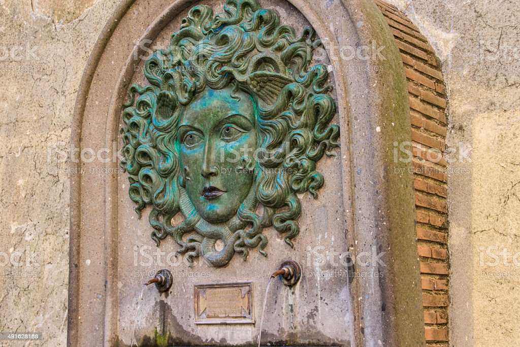 Fountain of Medusa in Nemi 2 stock photo