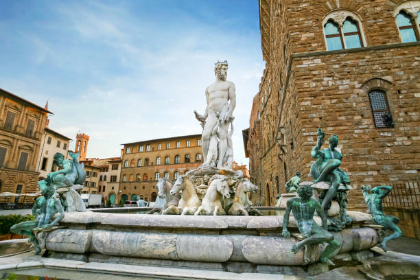 fountain of neptune in florence - della stock pictures, royalty-free photos & images