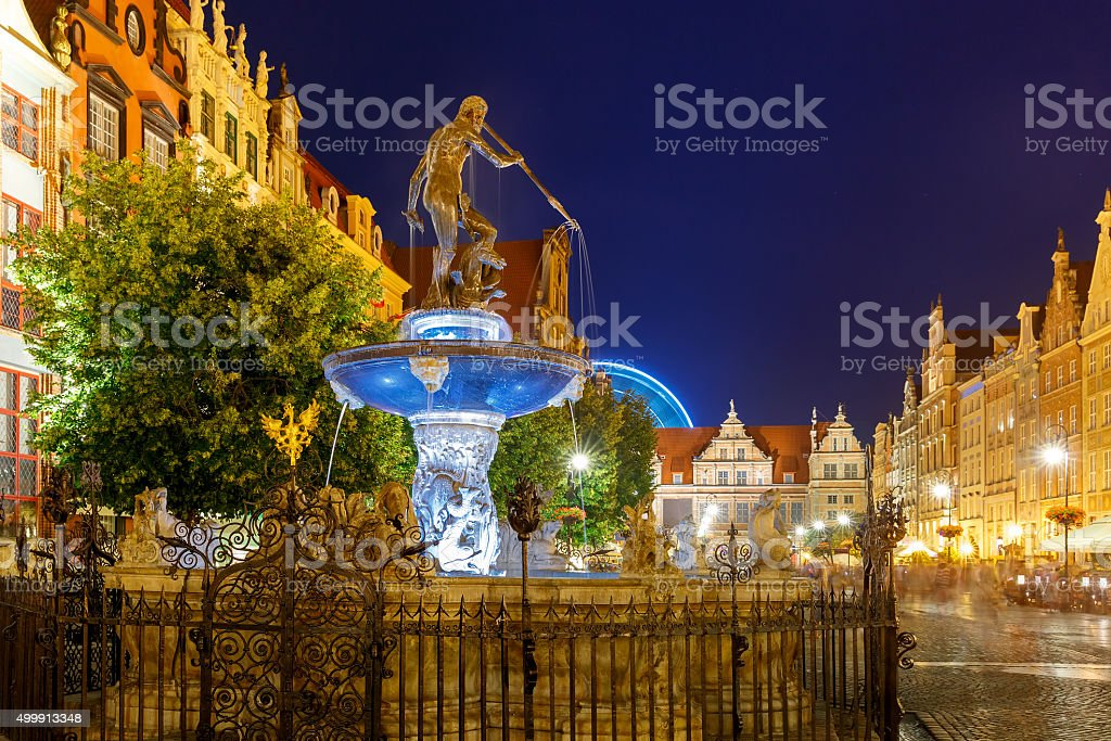 Fountain of Neptune in Gdansk at night, Poland stock photo