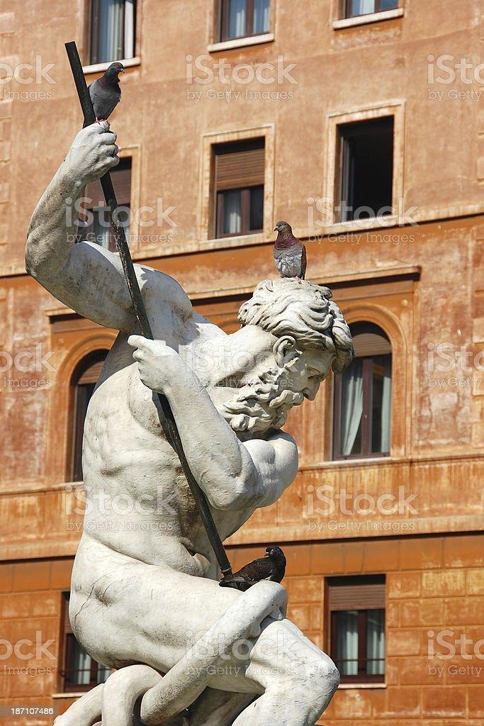 Fountain of Neptune in Rome stock photo