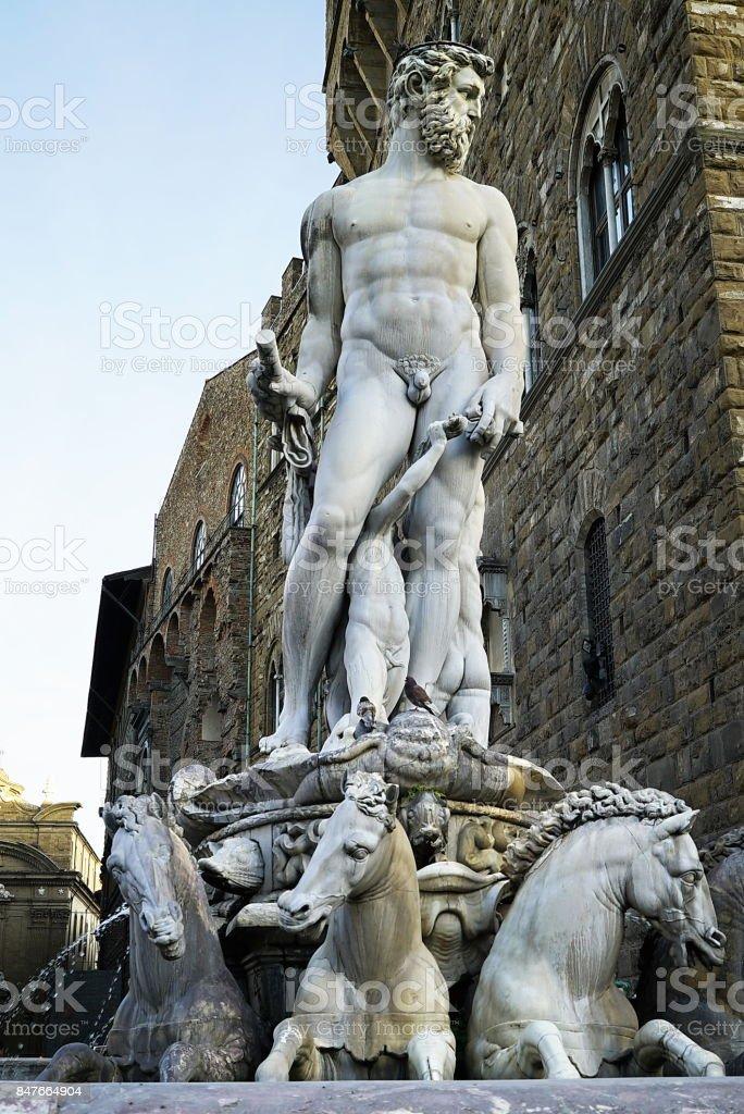 Fountain of Neptune on Signoria square, Florence stock photo
