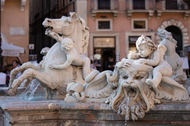 Neptunbrunnen auf dem Navona-Platz in Rom – Foto