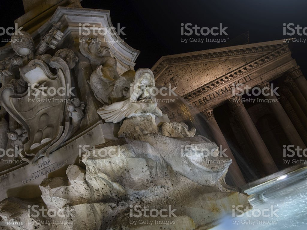 Fountain of Piazza Rotonda at night outside Pantheon royalty-free stock photo