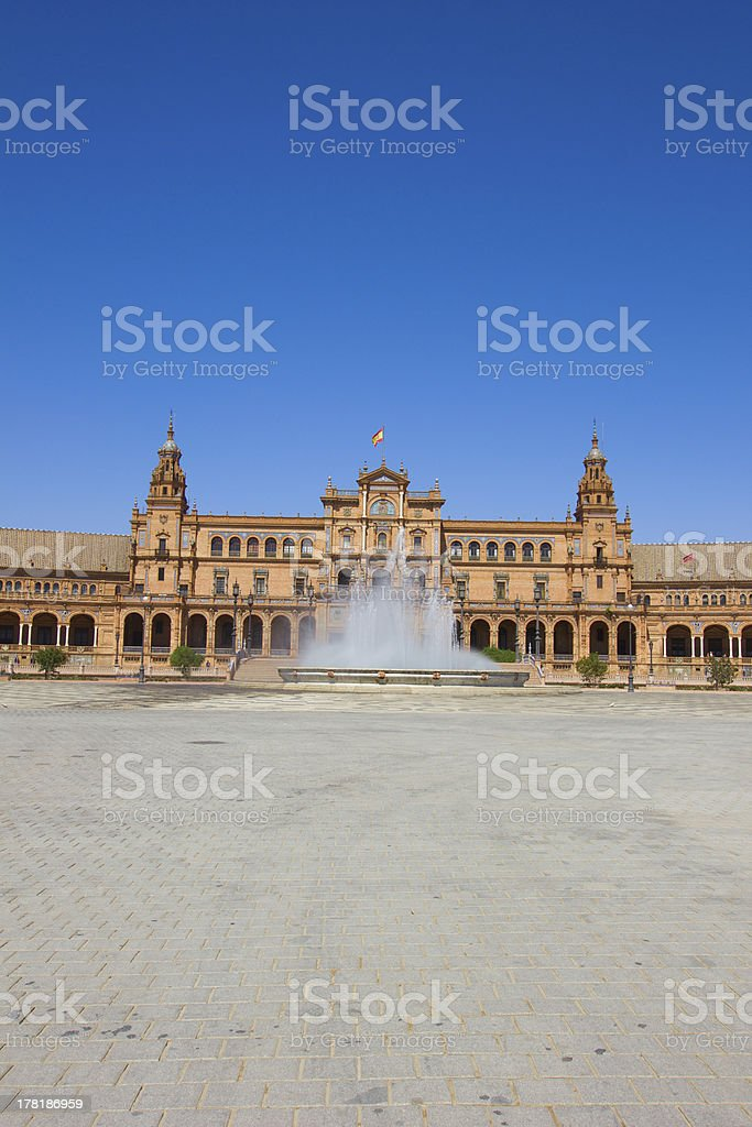 fountain of Plaza de Espan, Seville royalty-free stock photo