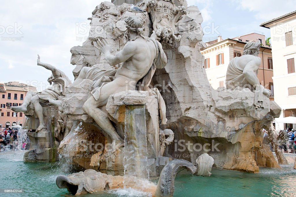fountain of the four rivers at navona square in rome Lizenzfreies stock-foto
