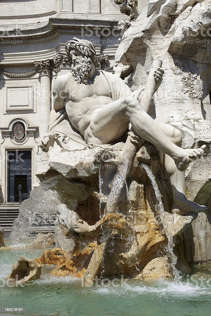 Fountain of the Four Rivers in Piazza Navona Rome royalty-free stock photo
