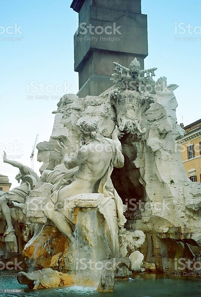 Fountain of the Four Rivers in Rome, Italy stock photo