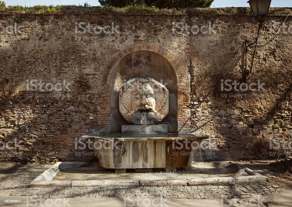 Fontana del Mascherone di Santa Sabina in Rome stock photo