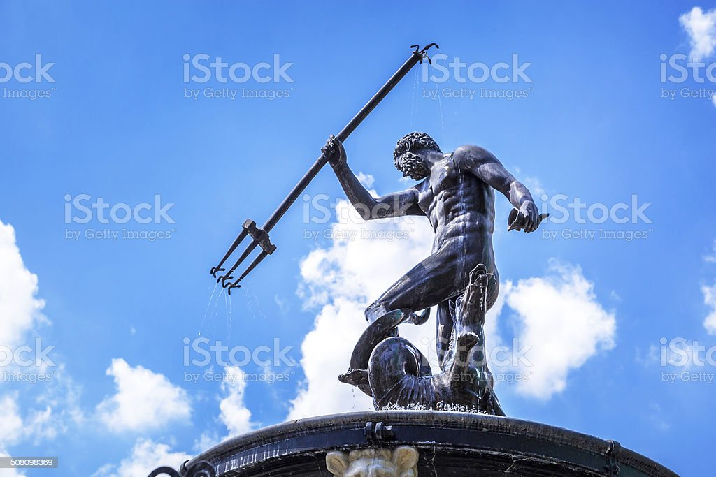 Fountain of the Neptune in Gdansk stock photo