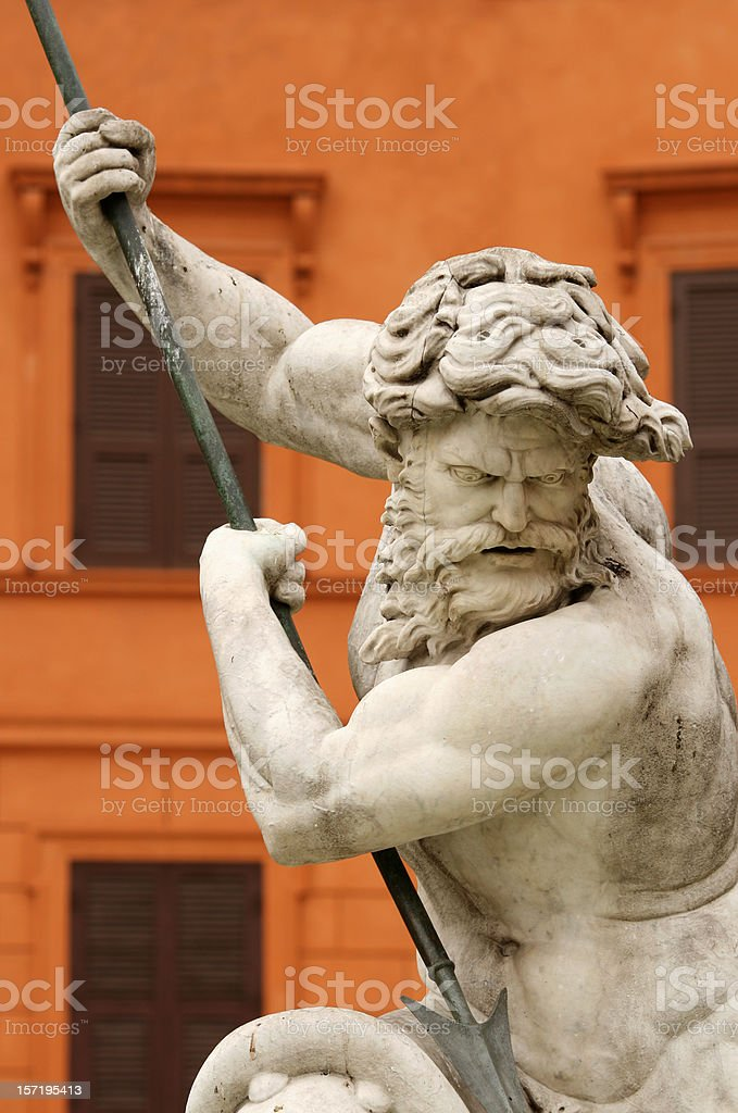 Fountain of the Neptune, Piazza Navona  in Rome Italy royalty-free stock photo