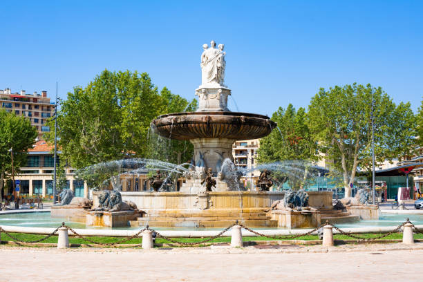 Fountain of the Rotunda, Aix in Provence, France stock photo