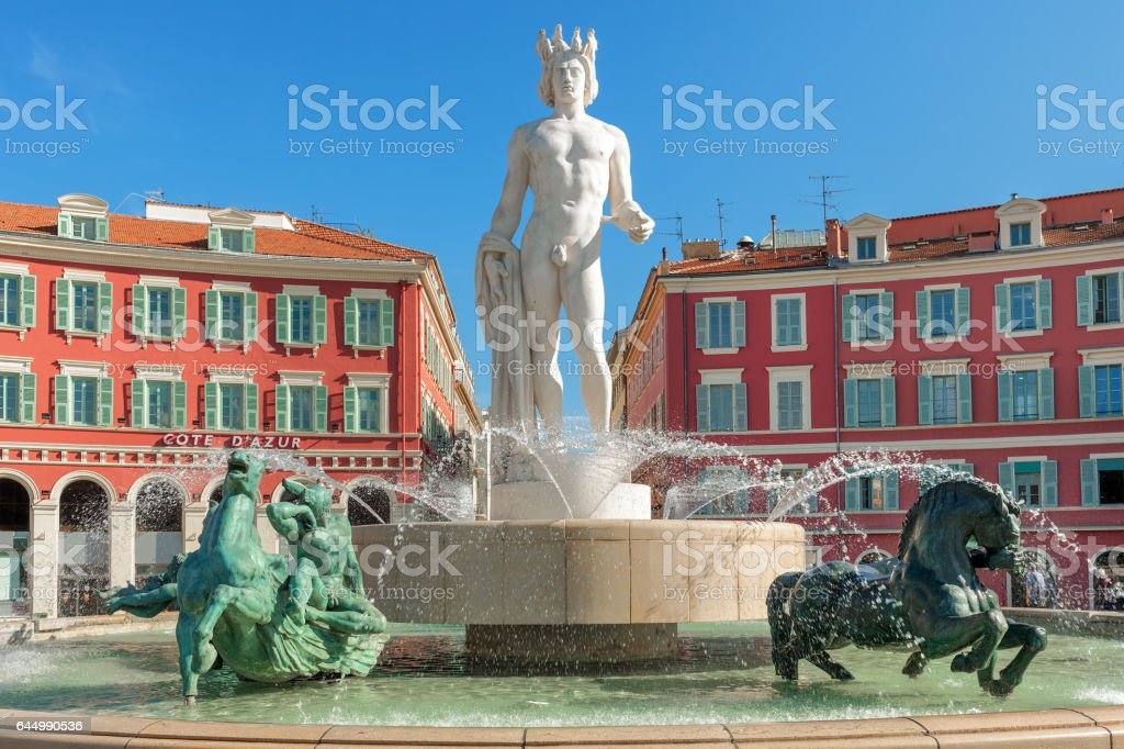 Fountain of the Sun in Nice, France. stock photo