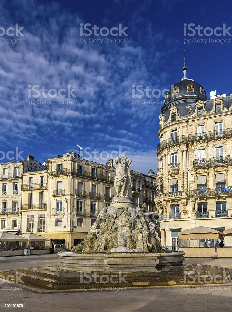 Fontaine des Trois Graces in Montpellier stock photo